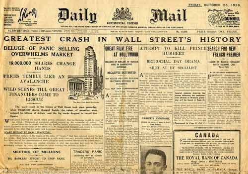 the wall street crash of 1929 The wall street crash of 1929 was the greatest stock market crash in the history of the united states it happened on the new york stock exchange on tuesday october 29, 1929, now known as black tuesday the crash started the great depression and stock prices did not reach the same level until late 1954 the crash.